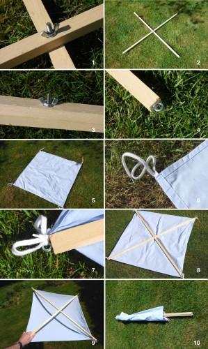 montage d'un parapluie japonais